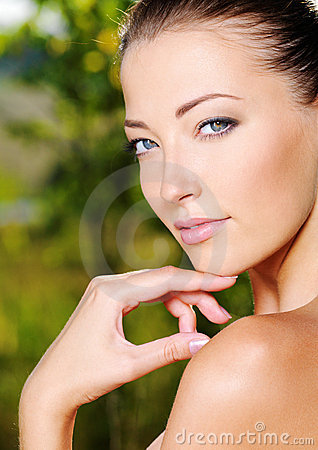 Free Woman Stroking Her Fresh Clean Skin Of Face Stock Image - 15473611