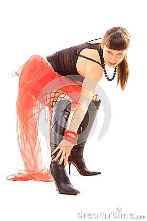 Woman stroking her long legs
