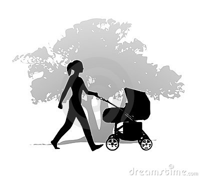 Free Woman Stroller Walking Exercise Royalty Free Stock Photography - 4389437
