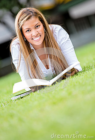 Woman studying outdoors
