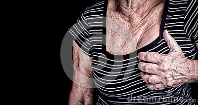 Woman suffering from chest pain