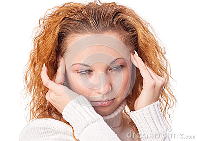 Woman suffering from headache