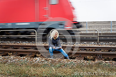 Woman suicide with thoughts on track