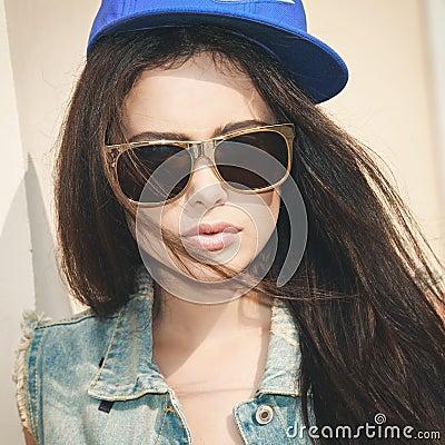 Woman in summer cap