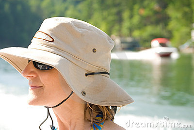 Woman in Summer on Lake