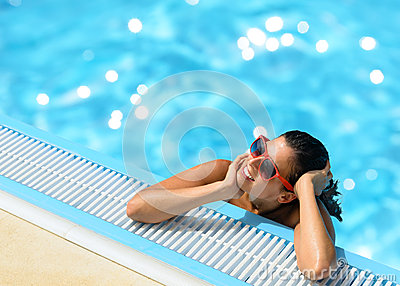 Woman summer relax in pool