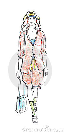 Woman in summer suit. Fashion sketch