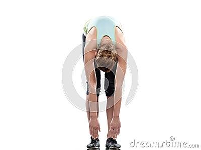 woman sun salutation yoga surya namaskar pose workout