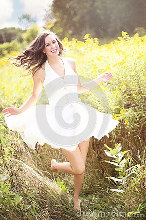 Woman In Sunny Field Free Public Domain Cc0 Image