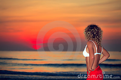Woman at sunrise time