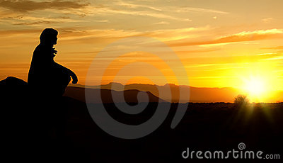 Woman sunset silhouette