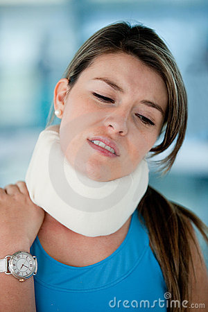 Woman with surgical collar