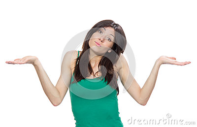Woman with surprised face comparing hand position