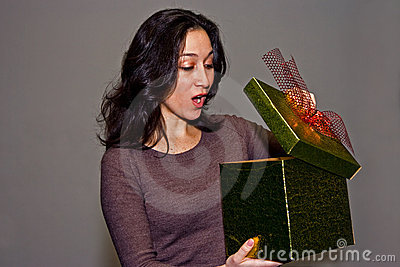 Woman surprised by gift