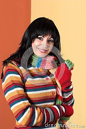 Woman in sweater dress