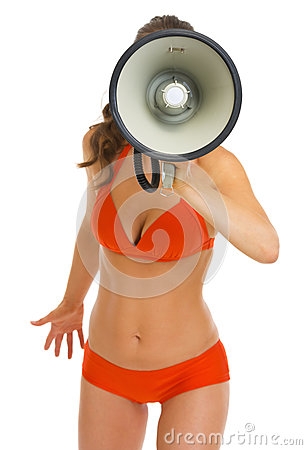 Woman in swimsuit shouting through megaphone