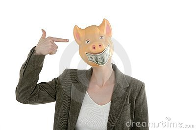Woman with swine face, dollar note mask
