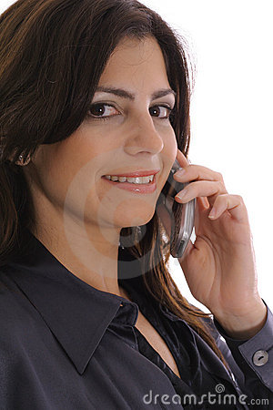 Woman taking business call upclose