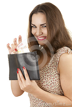 Woman taking euro from wallet