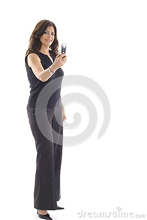 Woman taking photo with camera phone vertical