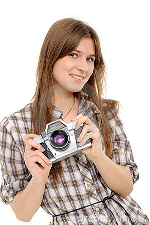 Free Woman Taking Photo With Vintage Camera Stock Photography - 18878632
