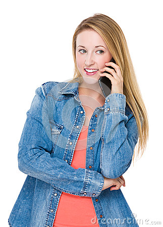 Free Woman Talk To Mobile Phone Stock Image - 48561571