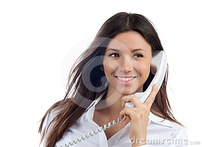 Woman talking on the handset phone