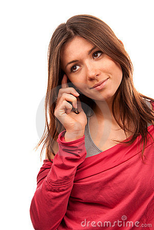 Woman talking on the new cell phone