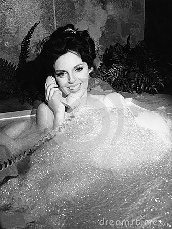 Free Woman Talking On Phone In Bubble Bath Stock Photography - 52013222
