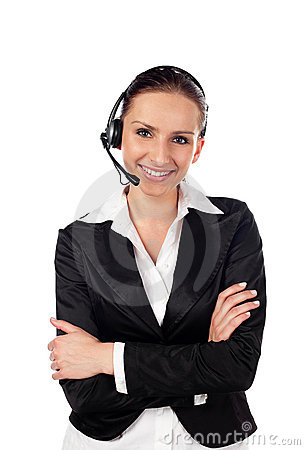 Woman talking by phone as customer service