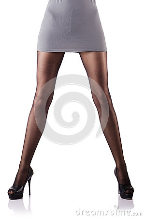 Woman with tall legs isolated