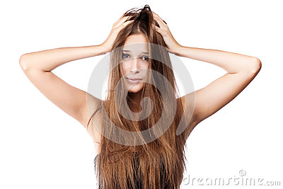 Woman with tangled hair.