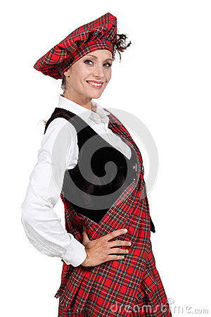 Woman in a tartan outfit