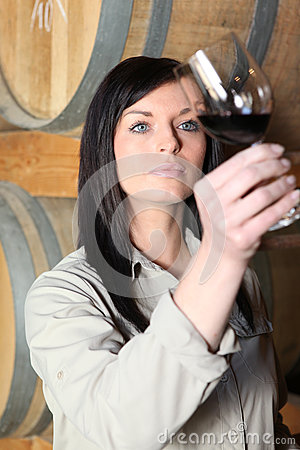 Free Woman Tasting Wine Royalty Free Stock Photography - 25749197