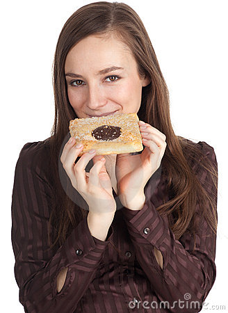 Woman with tasty cake