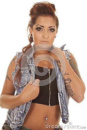 Woman tattoo close hold jacket