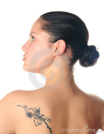 Woman with tattoo profile