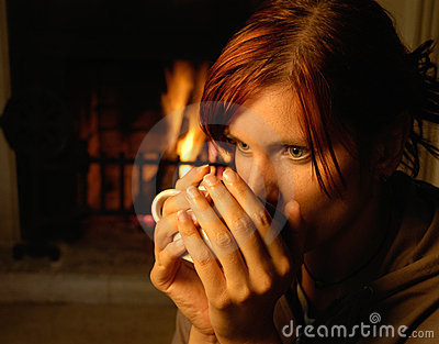 Woman with tea (chimney behind)