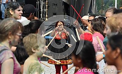 Woman Teaching Dandiya Editorial Photo