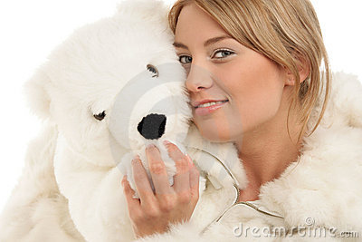 Woman with teddy bear