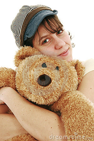 Woman and teddy bear