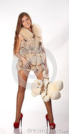Woman with teddybear