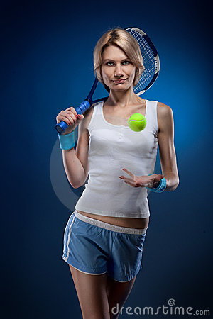 Woman with a tennis ball