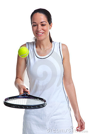 Woman tennis player bouncing ball on racket