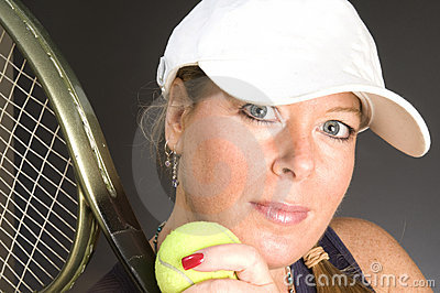 Woman tennis player happy