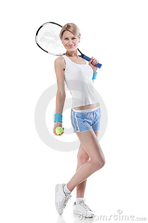 Woman with a tennis racket on white
