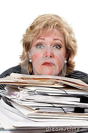 Woman tense work pile