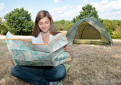 Woman tent camping map