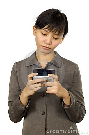 Woman Text on Her Cellphone