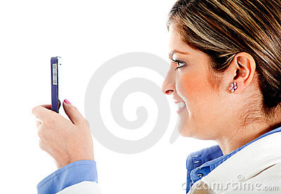 Woman texting on her phone